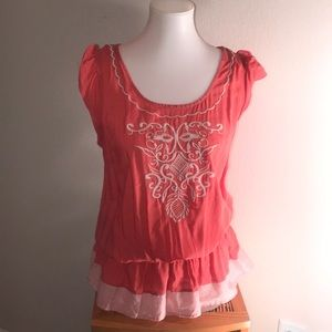 Mine salmon colored elastic waist embroidered top